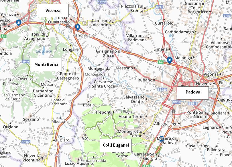 mappa Vicenza Padova