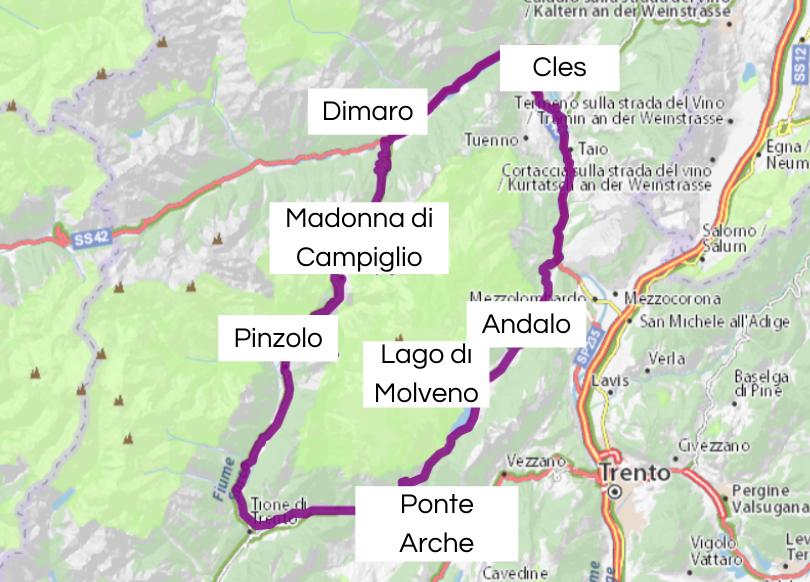Mappa del Tour Dolomiti Brenta