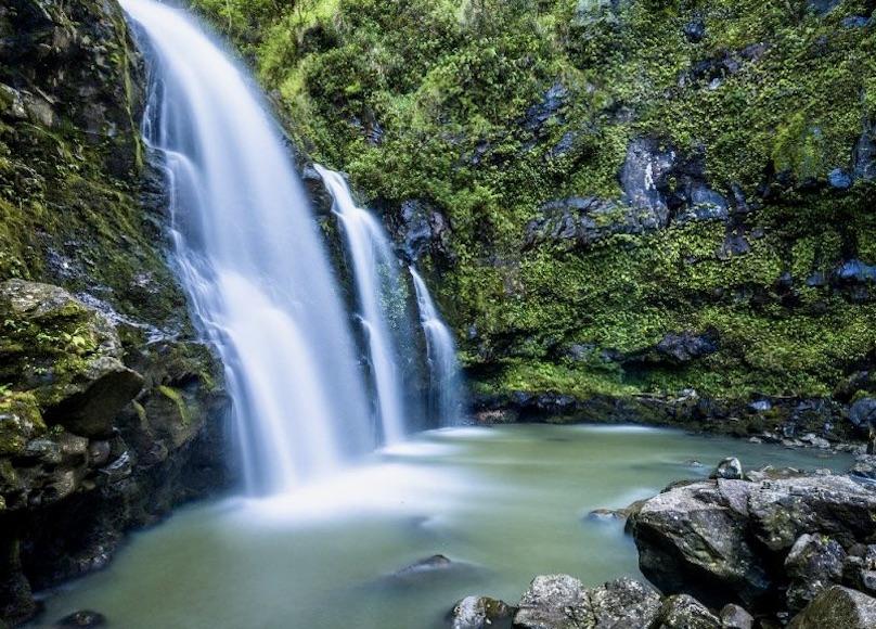 cascata scrosciante dell'Acquacheta in appennino lussureggiante